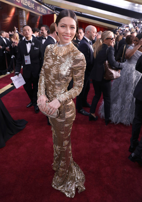. Jessica Biel arrives at the Oscars on Sunday, Feb. 26, 2017, at the Dolby Theatre in Los Angeles. (Photo by Matt Sayles/Invision/AP)