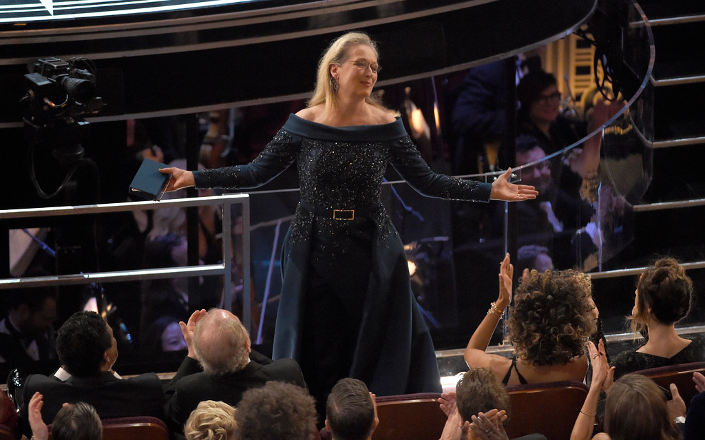 . Meryl Streep stands for applause at the Oscars on Sunday, Feb. 26, 2017, at the Dolby Theatre in Los Angeles. (Photo by Chris Pizzello/Invision/AP)