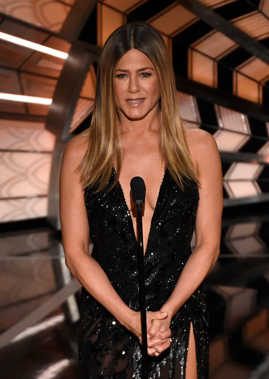 . Jennifer Aniston speaks at the Oscars on Sunday, Feb. 26, 2017, at the Dolby Theatre in Los Angeles. (Photo by Chris Pizzello/Invision/AP)