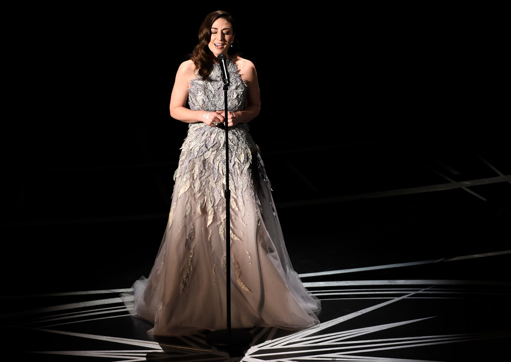 . Sara Bareilles performs during an In Memoriam tribute at the Oscars on Sunday, Feb. 26, 2017, at the Dolby Theatre in Los Angeles. (Photo by Chris Pizzello/Invision/AP)