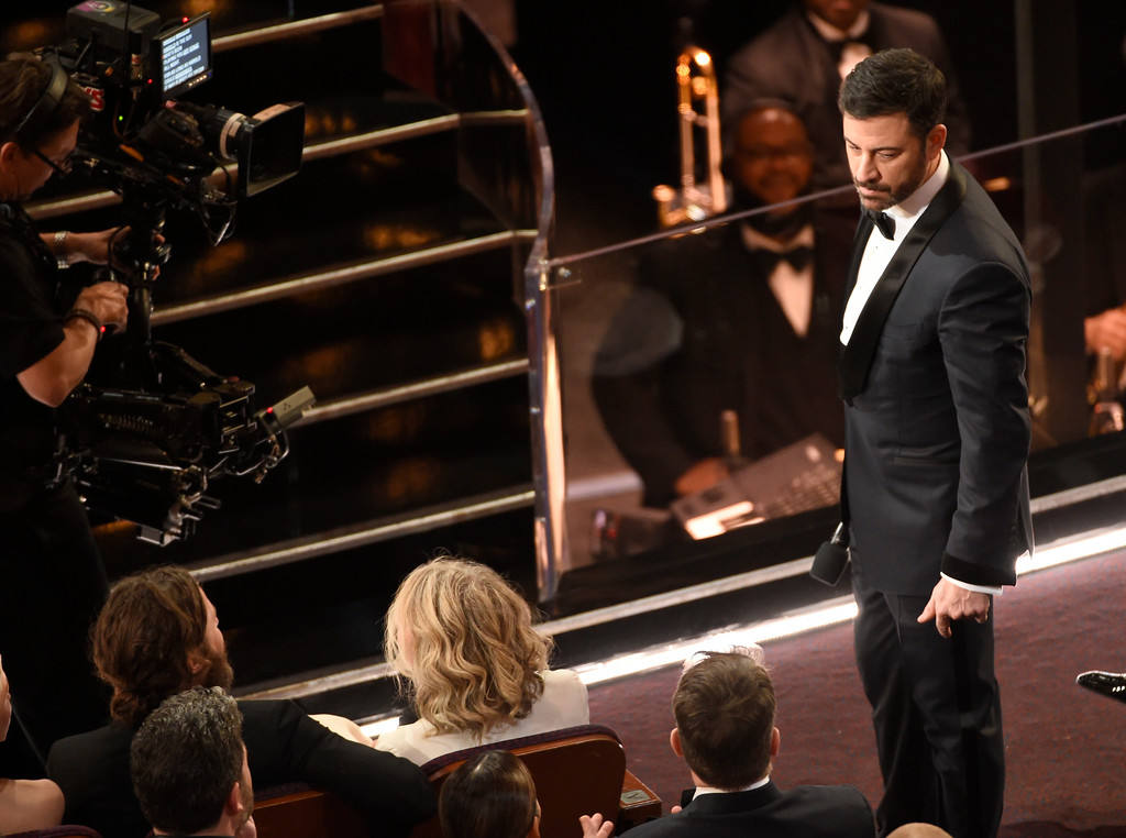. Host Jimmy Kimmel, right, stares at Matt Damon after Damon tripped him during a skit at the Oscars on Sunday, Feb. 26, 2017, at the Dolby Theatre in Los Angeles. (Photo by Chris Pizzello/Invision/AP)