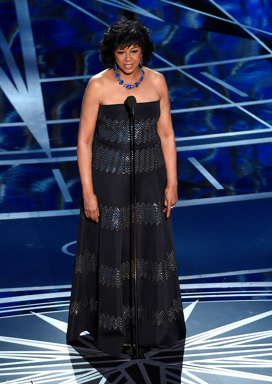 . AMPAS President Cheryl Boone Isaacs speaks at the Oscars on Sunday, Feb. 26, 2017, at the Dolby Theatre in Los Angeles. (Photo by Chris Pizzello/Invision/AP)