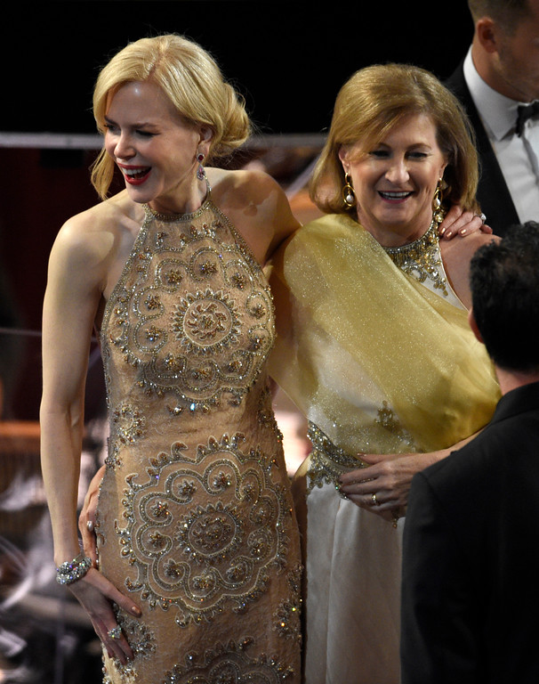 . Nicole Kidman, left, and Sue Brierley appear in the audience at the Oscars on Sunday, Feb. 26, 2017, at the Dolby Theatre in Los Angeles. (Photo by Chris Pizzello/Invision/AP)