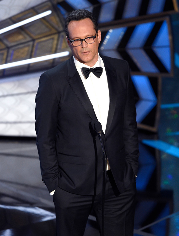 . Vince Vaughn speaks at the Oscars on Sunday, Feb. 26, 2017, at the Dolby Theatre in Los Angeles. (Photo by Chris Pizzello/Invision/AP)
