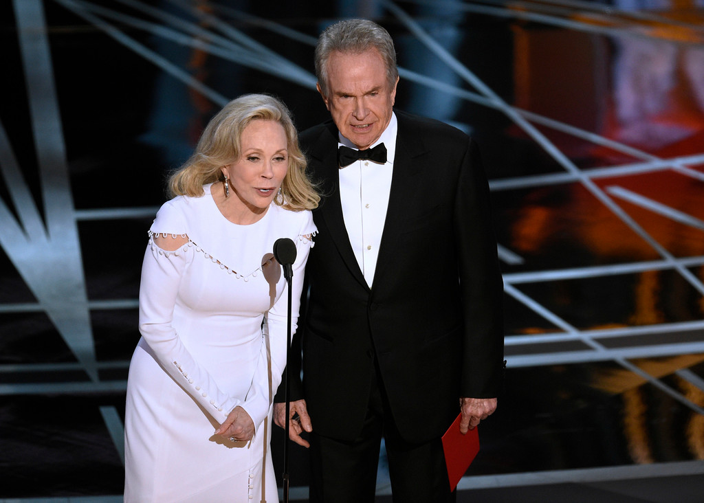 . Faye Dunaway, left, and Warren Beatty present the award for best picture at the Oscars on Sunday, Feb. 26, 2017, at the Dolby Theatre in Los Angeles. (Photo by Chris Pizzello/Invision/AP)