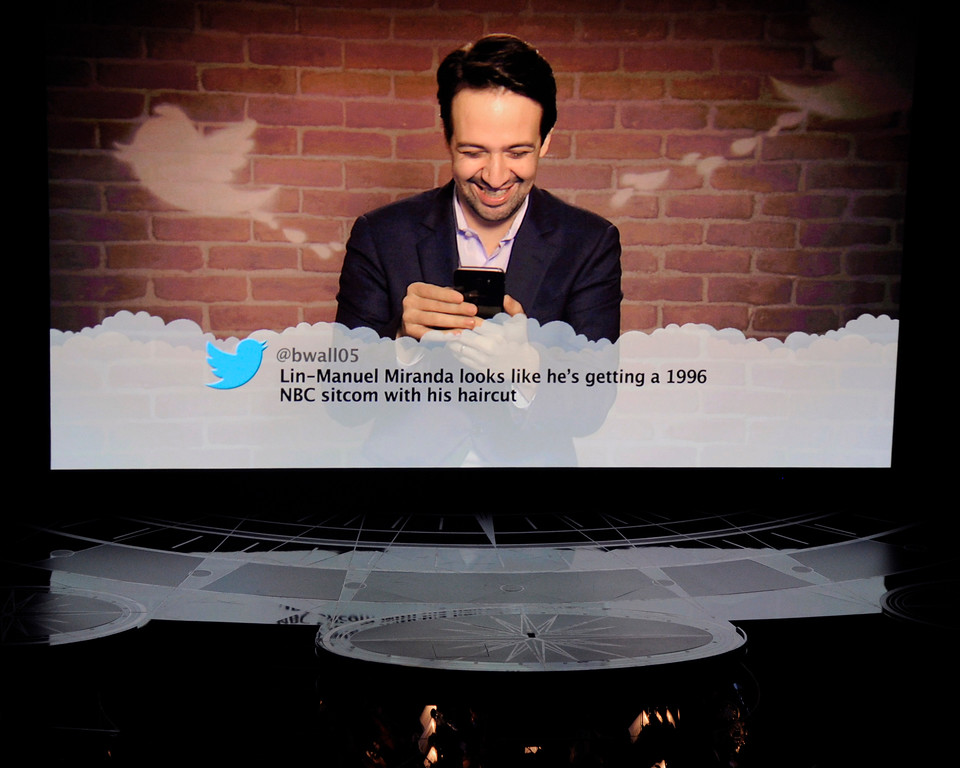 . Lin-Manuel Miranda appears on screen as he reads tweets at the Oscars on Sunday, Feb. 26, 2017, at the Dolby Theatre in Los Angeles. (Photo by Chris Pizzello/Invision/AP)