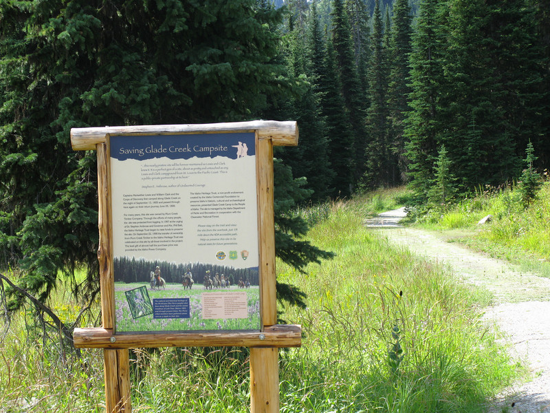 """About a mile behind the Lolo Visitors Center is one of, if not the most beautifully maintained Lewis and Clark Campsite called """"Glade Creek Camp""""."""