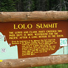 Lolo Trail Summit sign.
