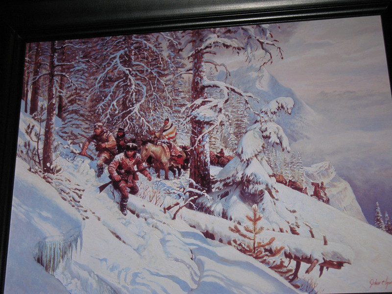 The Expedition traveled in 2 to 4 feet of snow when traveling both west and east across the Lolo Trail. The snow covered animal trails forced Old Toby to become immediately lost.