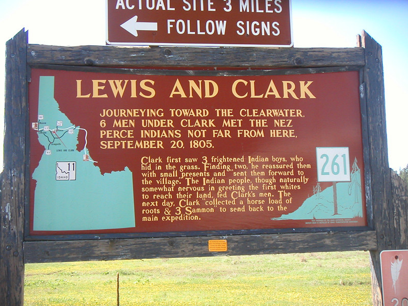 Lewis and Clark meet the Nez Perce Indians.