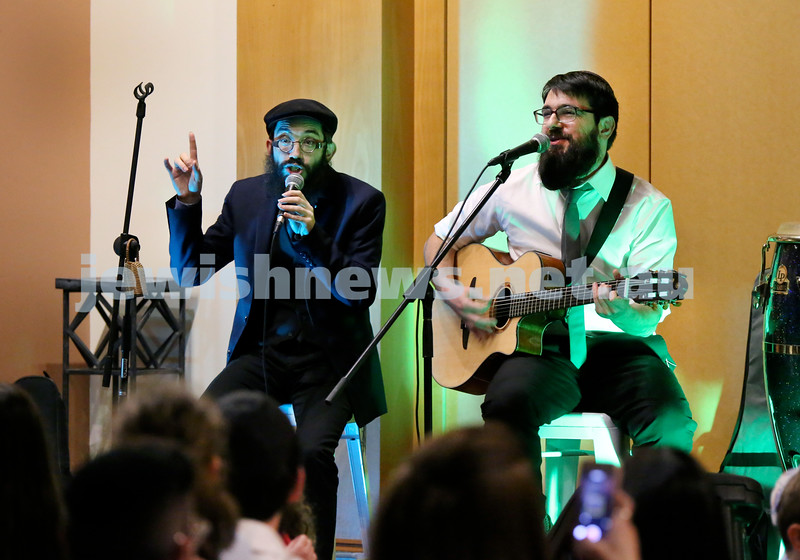 Visiting American group 8th Day perform during an unpluged concert to a packed audience at Chabad Double Bay. Pic Noel Kessel.
