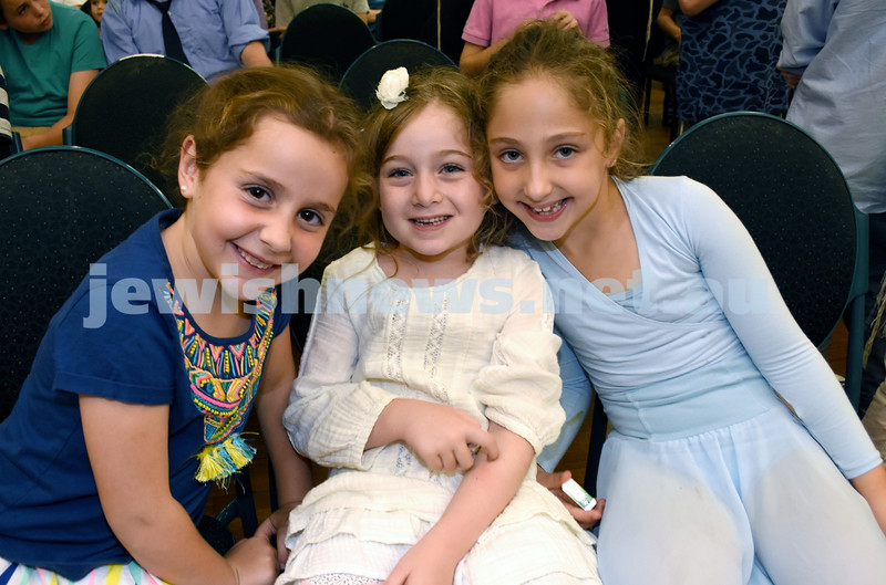8th Day concert at Chabad Double Bay. (from left) Railea Raskin, Goldie Krasenstein, Laila Feiglin. Pic Noel Kessel.