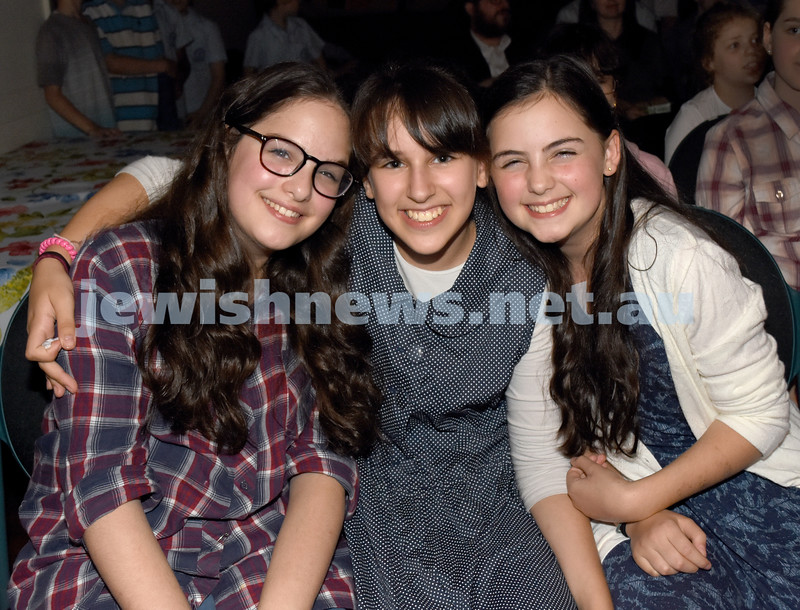 8th Day concert at Chabad Double Bay. (from left) Shani Berger, Sarale Aber, Mushka Berger. Pic Noel Kessel.