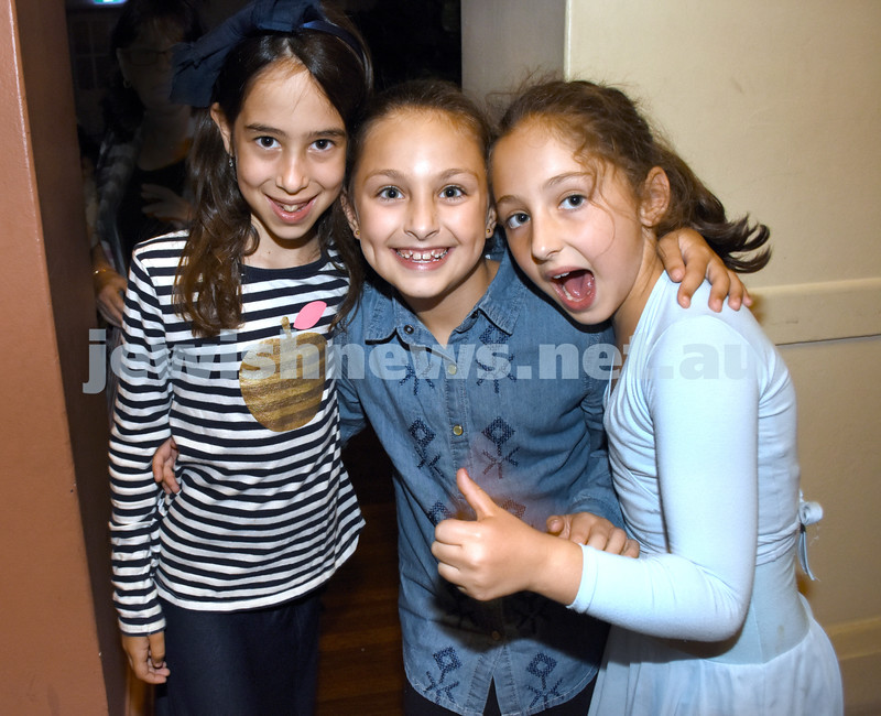 8th Day concert at Chabad Double Bay. (from left) Rosie Kastel, Chaya Greenwald, Laila Feiglin. Pic Noel Kessel.