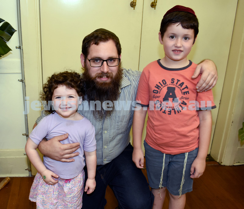 8th Day concert at Chabad Double Bay. Yaakov Levitan with his children Mina Chava (L) & Shlomo (R). Pic Noel Kessel.