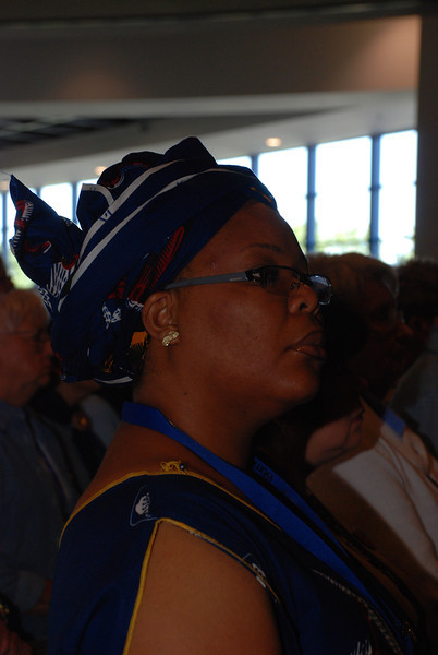 Saturday speaker Leymah Gbowee attends the Friday opening worship.