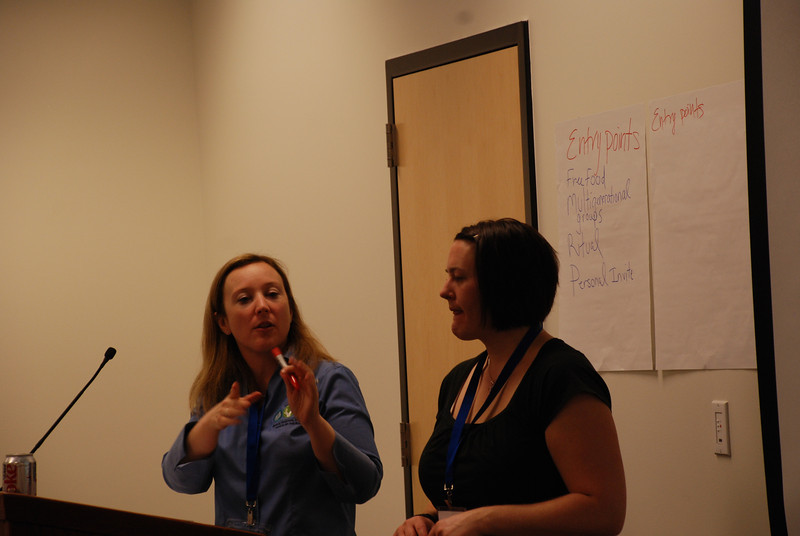 Women of the ELCA staff member Elizabeth McBride (left) and Jessica Gill present ideas at the workshop on building the organization through creative programming. Jessica started a Cafe group in her congregation.