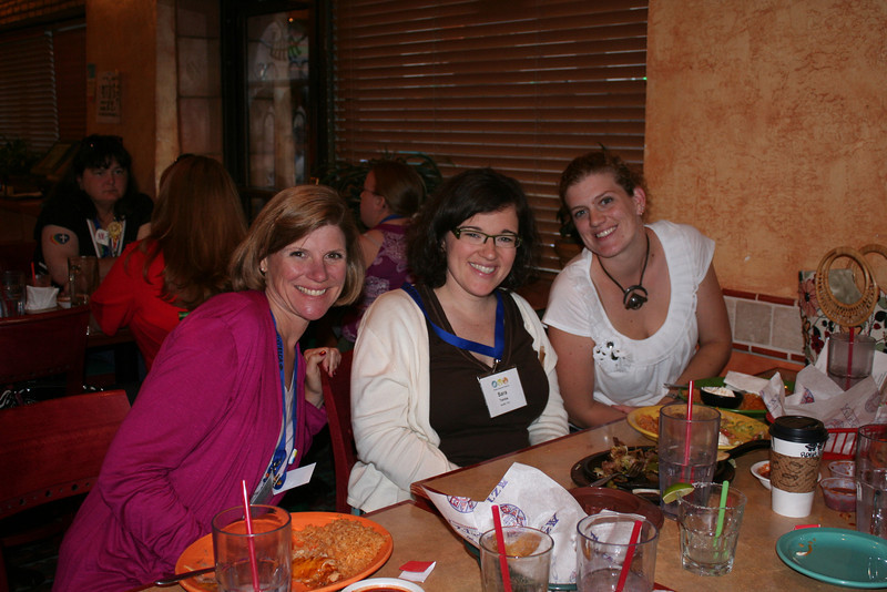 Young adult women having a dinner at the Azteca restaurant near the convention center.