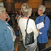 Jane Redmoont, right, talks to Beth Wrenn, immediate past president of Women of the ELCA. Redmont led evening prayer at the Gathering on Friday, July 15. <br /> TL