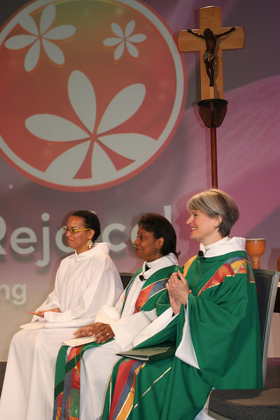 At Friday morning's opening worship, Romi Pierce (far left) read the lessons. The Rev. Wyvetta Bullock (center) preached, and the Rev. Susan Briehl (right) presided. It was a powerful Spirit-filled Thankoffering service!