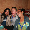 Young adult women meet for dinner at the Azteca restaurant.