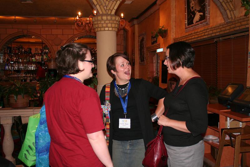 Closing worship preacher the Rev. Megan Torgerson (center) chats with participants.