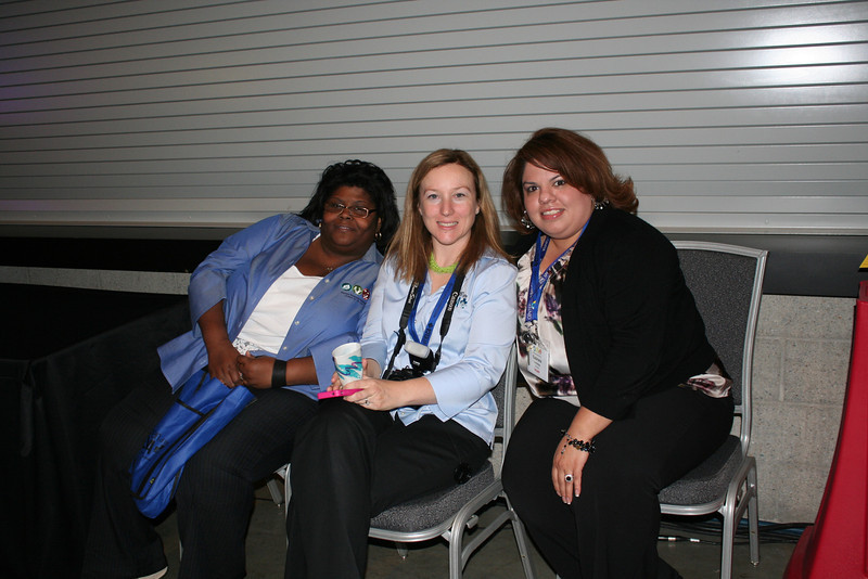 Tired but smiling Women of the ELCA staff members (from left to right) Ann Hightower, Elizabeth McBride, and Gabriela Contreras take a break on Saturday evening. (DB)