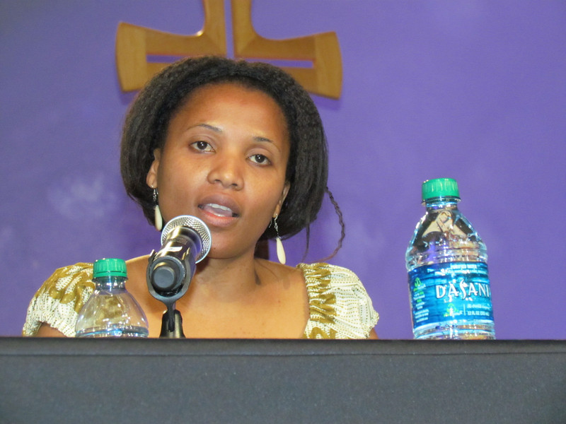 Christine Mangale, one of the members of the response panel, comments on Leymah Gbowee's message. (BMcB)