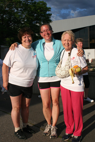 Bobbi Thomas (left), Lynn Albers and Millie Dick pose for a photo after the Run, Walk and Roll. (BMcB)