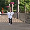 Margie Fiedler runs happily toward the finish line.<br /> (BMcB)