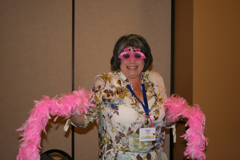 New president Jenny Michael from the Florida-Bahamas Synod shows her support for their delegation's flamingo-inspired look.