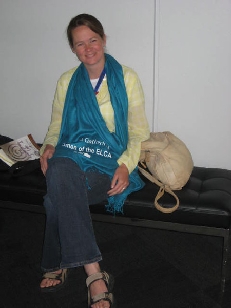 Delegate from North Dakota shows off her sassy shawl.