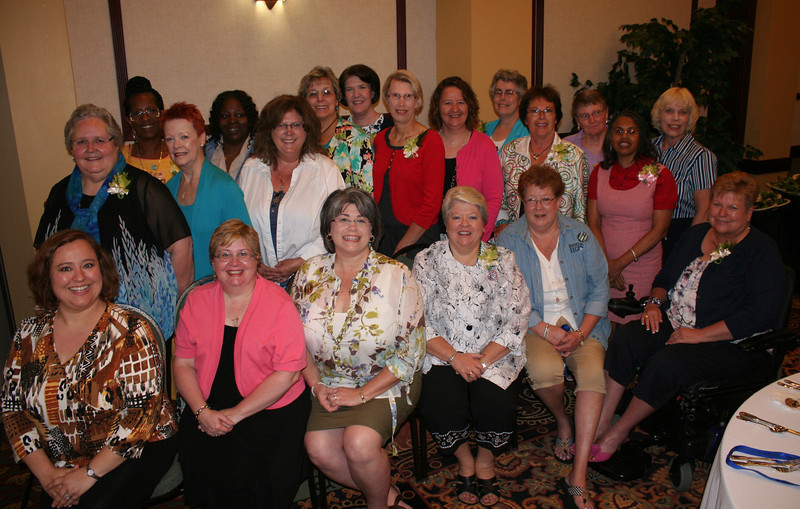 Newly elected churchwide board. Front row: Ann Shelton (left), Barbara Martz, Jenny Michael, JoAnn Fuchs, Jackie Wilson, Diane Frederick. Second row: Phyllis Rude (left), Patti Austin, Dona Jenkins, Syd Brinkman, Gwendolynn Edwards, Betty Brandt,Vicki Murph. Back row: Charleen Walker-Horton (left), Deborah Williams, Susan Drane, Kristine Brugamyer, Betsy Baguhn, and Sandra Lange and Ely Smith. The Rev. Gwendolyn King is not pictured.