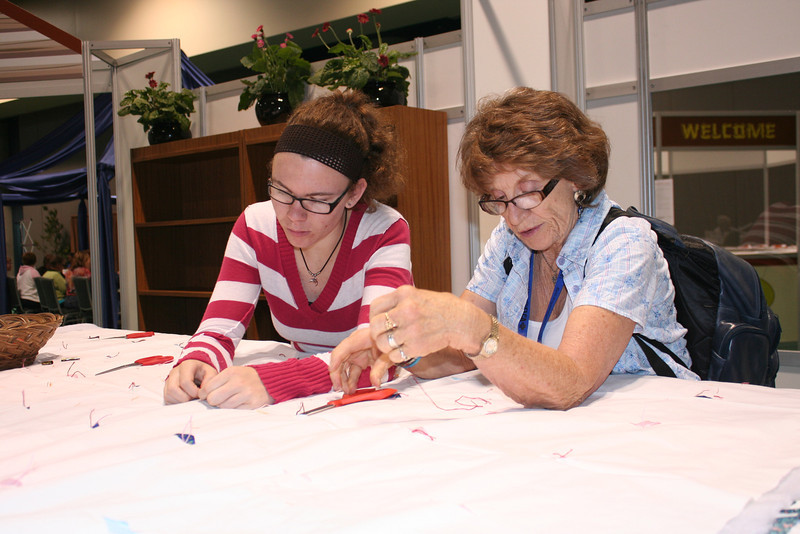 Women in the quilting cottage getting started.