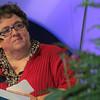 Executive director Linda Post Bushkofsky moderates a response panel to Leymah's speech. (BMcB)