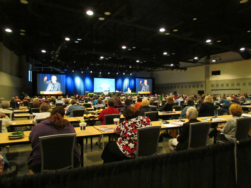 Presiding Bishop Mark Hanson addresses delegates in the final plenary session.