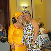 The Rev. Angela K. Khabeb and Leymah Gbowee hug.