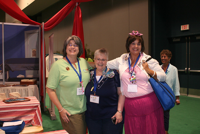 "Women stop by to congratulate the new president Jenny Michael at Women of the ELCA's ""dining hall"" in Camp Dianoigo."