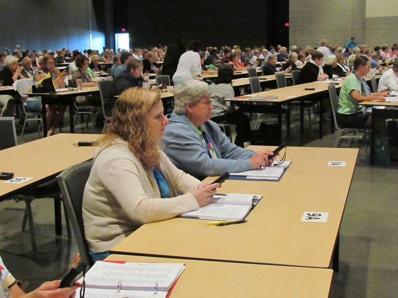 Delegates practice voting.