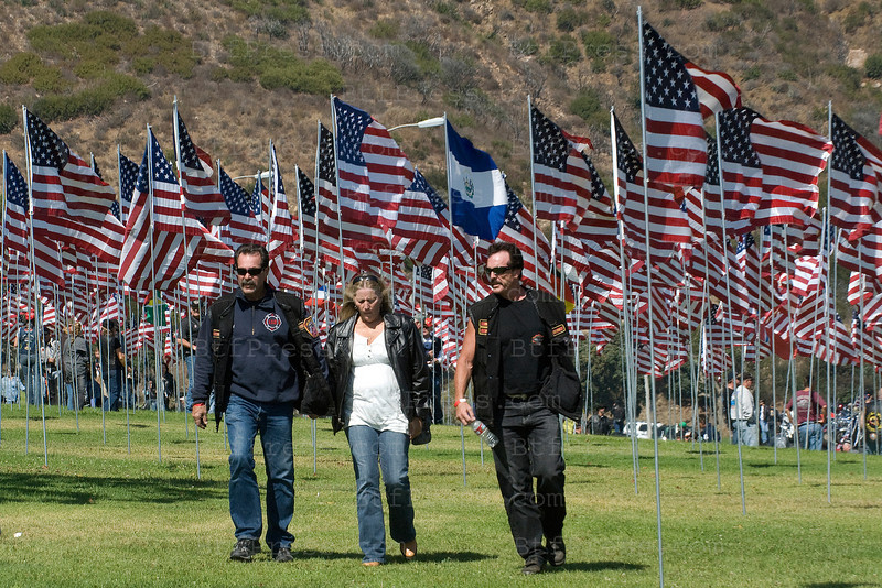Pepperdine University honor the memory of the innocent men and women who lost their lives in the tragic attacks on the United States on 9/11/01 in New York,Pennsylvania,and at the Pentagon. The flags represent each victims and other nations.