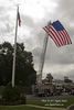 9-11 Memorial Flag flies over Brevent Park fire truck, Middletown Twp, NJ in preparation for 9-11 10th anniversary ceremonies.