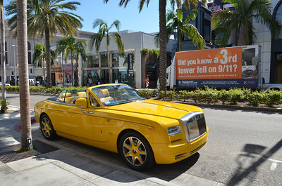 Rodeo Drive, Beverly Hills  ReThink 911 Mobile Billboard Truck w/Yellow Rolls Royce