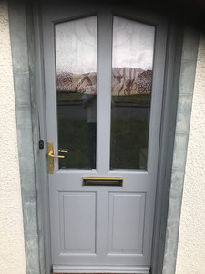 Front door after new base coat application