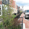 Photo Credit: Robert Domm<br /> <br /> Lansing, MI is located in the Grand River watershed which flows into Lake Michigan. To deal with the number one source of water pollution in the United States, a category 5 Transportation Enhancement grant helped to redefine the streetscape along Michigan Avenue. 20 rain gardens or bioretention areas were installed along a four block section of the street to help reduce polluted stormwater runoff. <br /> 	<br />         $2 million in Federal funding was acquired in 2006 for the project. A $500,000 local match in addition to a Michigan Department of Environmental Quality Clean Michigan Initiative Grant and an Environmental Protection Agency Non-Point Source Grant also funded the project. The project included the construction of rain gardens and the addition of lighting. <br /> <br />         The rain gardens filter and keep harmful pollutants such as fertilizer, pesticides, trash, and pet waste out of storm drains. The runoff and any over flow is diverted away from storm drains and into gardens where strong and deep root systems filter out pollutants before the water enters the storm drain clean. In addition to the benefit of increased water quality, rain gardens help create a pedestrian friendly and attractive streetscapes.
