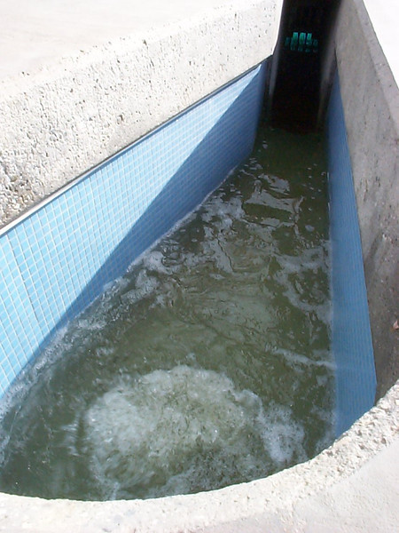 <b>The fifth treatment system, Ultra-Violet Radiation, disinfects pathogens found in the water.</b>  The Santa Monica Urban Runoff Recycling Facility (SMURRF) treats and reuses dry-weather runoff from parts of western Los Angeles City and of central Santa Monica City before this source of pollution can reach Santa Monica Bay. Over 100 million gallons of urban runoff drain from Los Angeles County into the ocean on a typical dry weather day. This flow includes runoff from landscaping irrigation, car washes, hosing down of hardscapes, pool draining and other highly contaminated sources. It is the primary source of pollution into the bay, affecting beach users and aquatic life alike. SMURRF helps mitigate this pollution by treating up to 500,000 gallons daily and recycling the water for irrigation and indoor flushing purposes. In addition, the SMURRF blends technology, art, and education to create an international example of innovative urban ecological management.