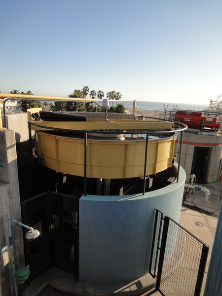 <b>The third stage in the water treatment process is the Dissolved Air Floatation system, which removes free oil and grease.</b>  The Santa Monica Urban Runoff Recycling Facility (SMURRF) treats and reuses dry-weather runoff from parts of western Los Angeles City and of central Santa Monica City before this source of pollution can reach Santa Monica Bay. Over 100 million gallons of urban runoff drain from Los Angeles County into the ocean on a typical dry weather day. This flow includes runoff from landscaping irrigation, car washes, hosing down of hardscapes, pool draining and other highly contaminated sources. It is the primary source of pollution into the bay, affecting beach users and aquatic life alike. SMURRF helps mitigate this pollution by treating up to 500,000 gallons daily and recycling the water for irrigation and indoor flushing purposes. In addition, the SMURRF blends technology, art, and education to create an international example of innovative urban ecological management.