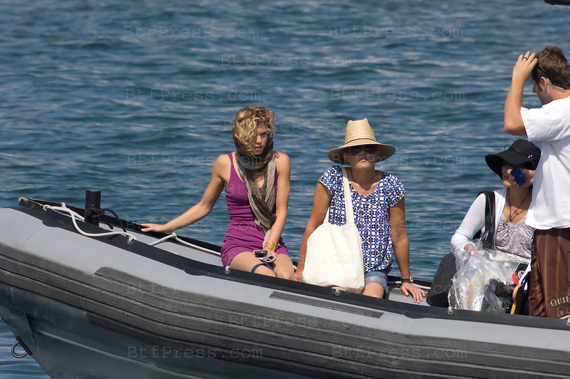 Los Angeles, California The cast of 90210 film an episode on a yacht. AnnaLynne McCord as Naomi clark (L)- Photo by Michel Boutefeu
