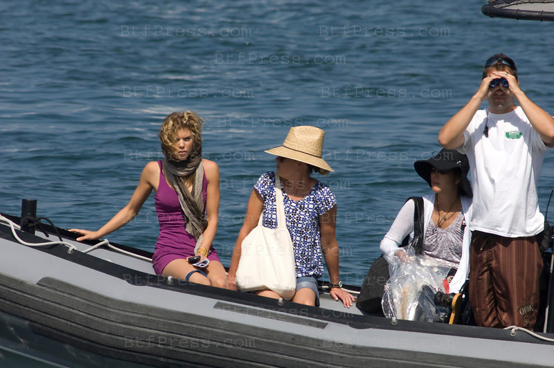 Los Angeles, California The cast of 90210 film an episode on a yacht. AnnaLynne McCord as Naomi clark (L)-Photo by Michel Boutefeu