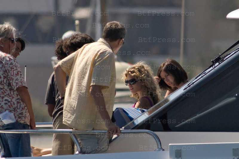 Los Angeles, California The cast of 90210 film an episode on a yacht. AnnaLynne McCord as Naomi clark (L) and Jessica Lowndes as Tate-Ducan (R)-Photo by Michel Boutefeu