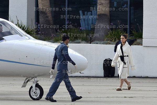 Exclusive_ Santa Monica airport.  Set of 90210 , cast Jessica Lowndes, Matt Lanter.